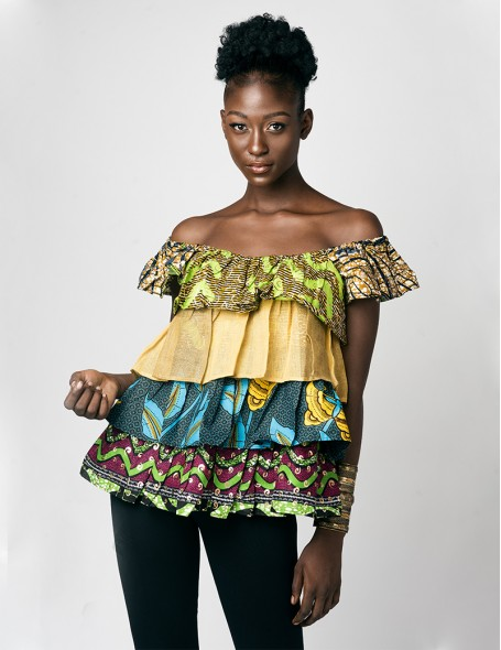 African  elasticated neckline with 5 ruffles.